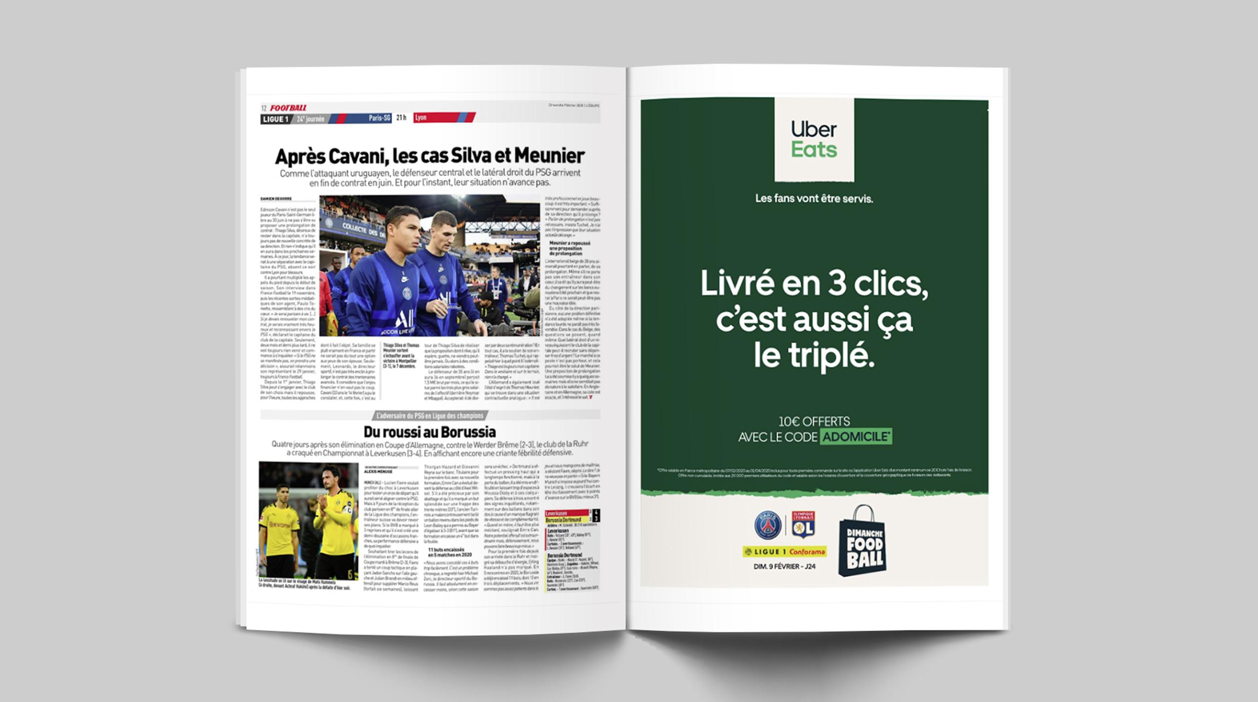 Visuel_double_page_Activation_Press_room_Livre_en_3_clics_c_est_aussi_ca_le_triple_Dimanche_Foodball_Lafourmi_ubereats_ligue_1_conforama_football