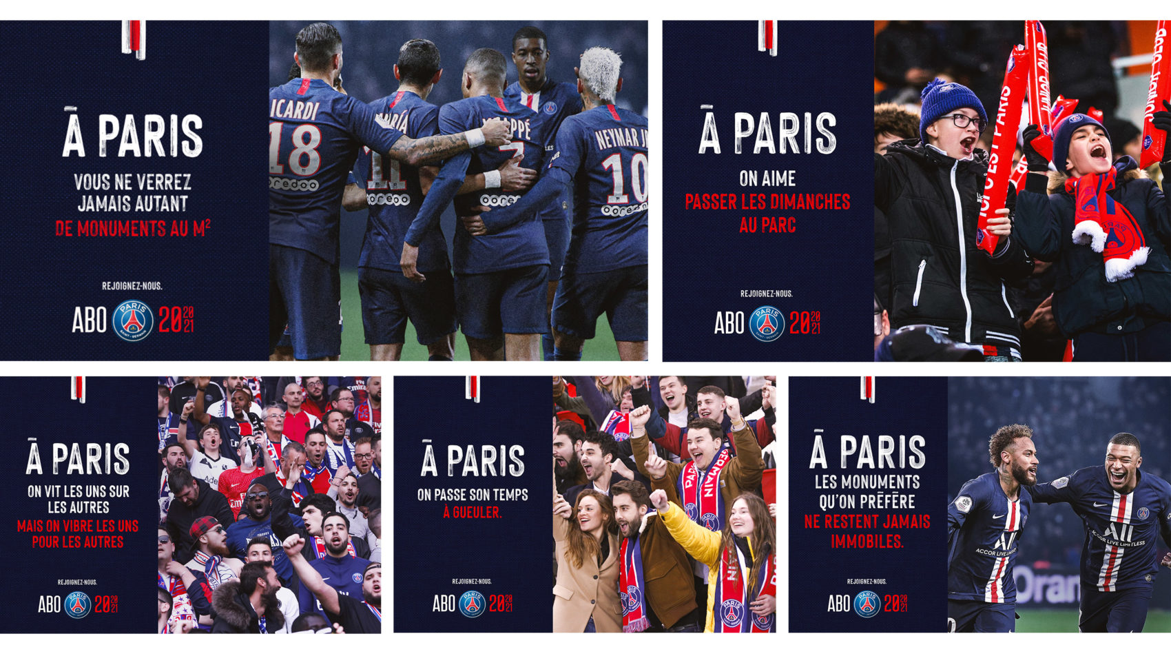 Visuel_montage_joueurs_supporters_campagne_abonnement_communication_marketing_paris_saint_germain_2020_21_parc_des_princes_supporters_football_psg_lafourmi