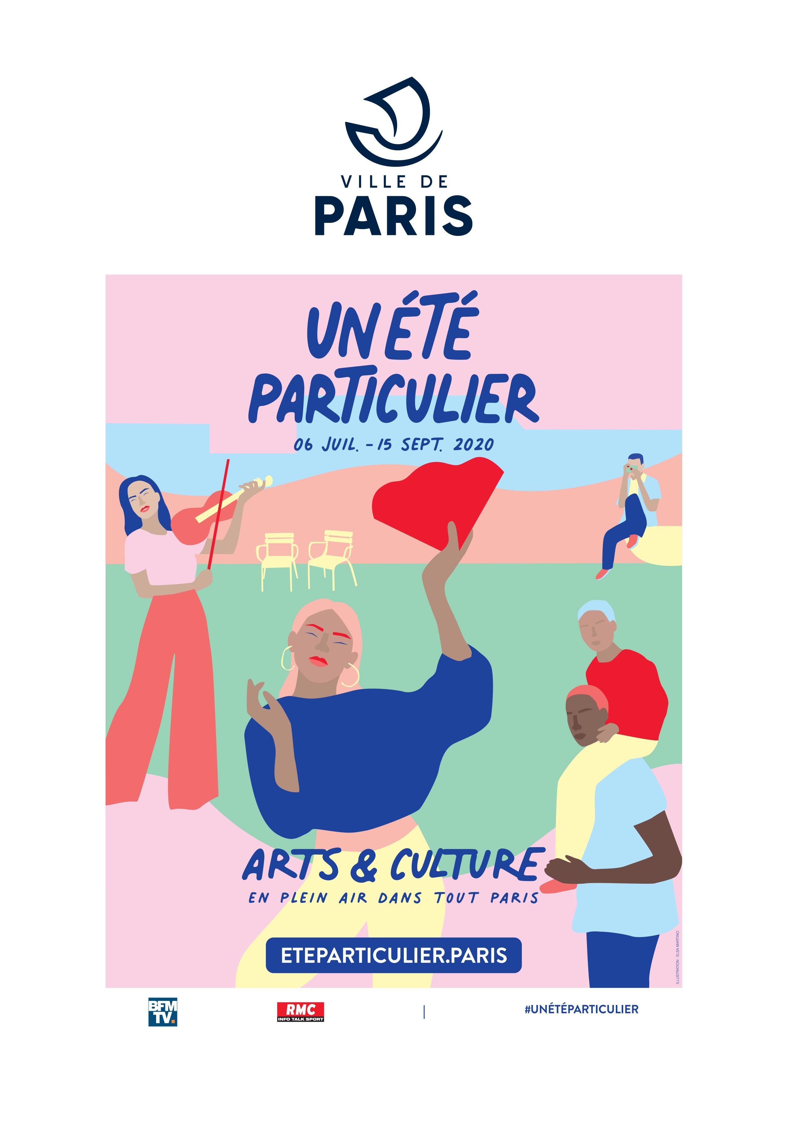 visuel_campagne_communication_affiches_ville_de_paris_plages_lance_un_ete_particulier_programme_estival_2020_animation_pour_parisiens_parisiennes_arts_et_culture_soir_lafourmi
