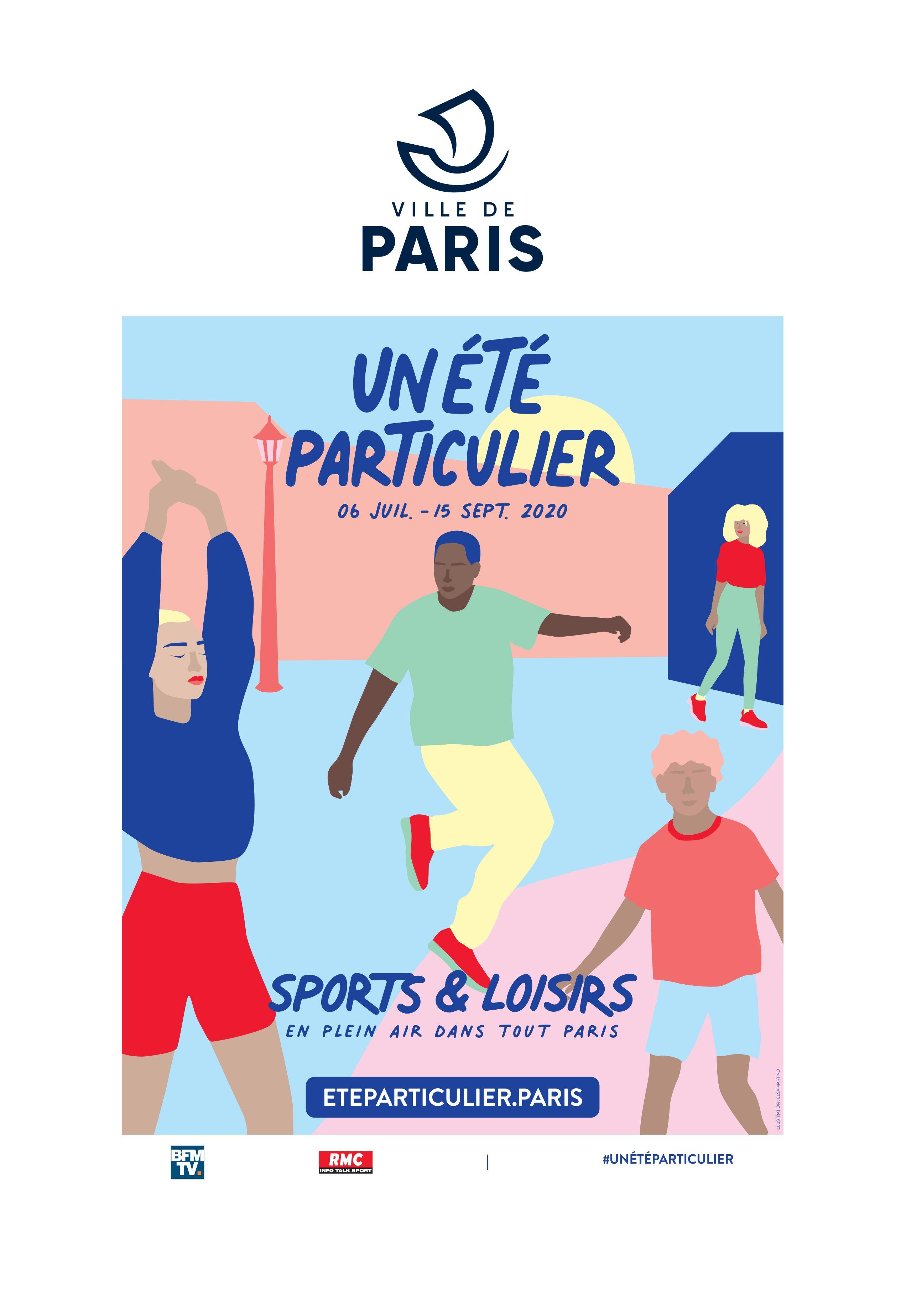visuel_campagne_communication_affiches_ville_de_paris_plages_lance_un_ete_particulier_programme_estival_2020_animation_pour_parisiens_parisiennes_sport_matin_lafourmi