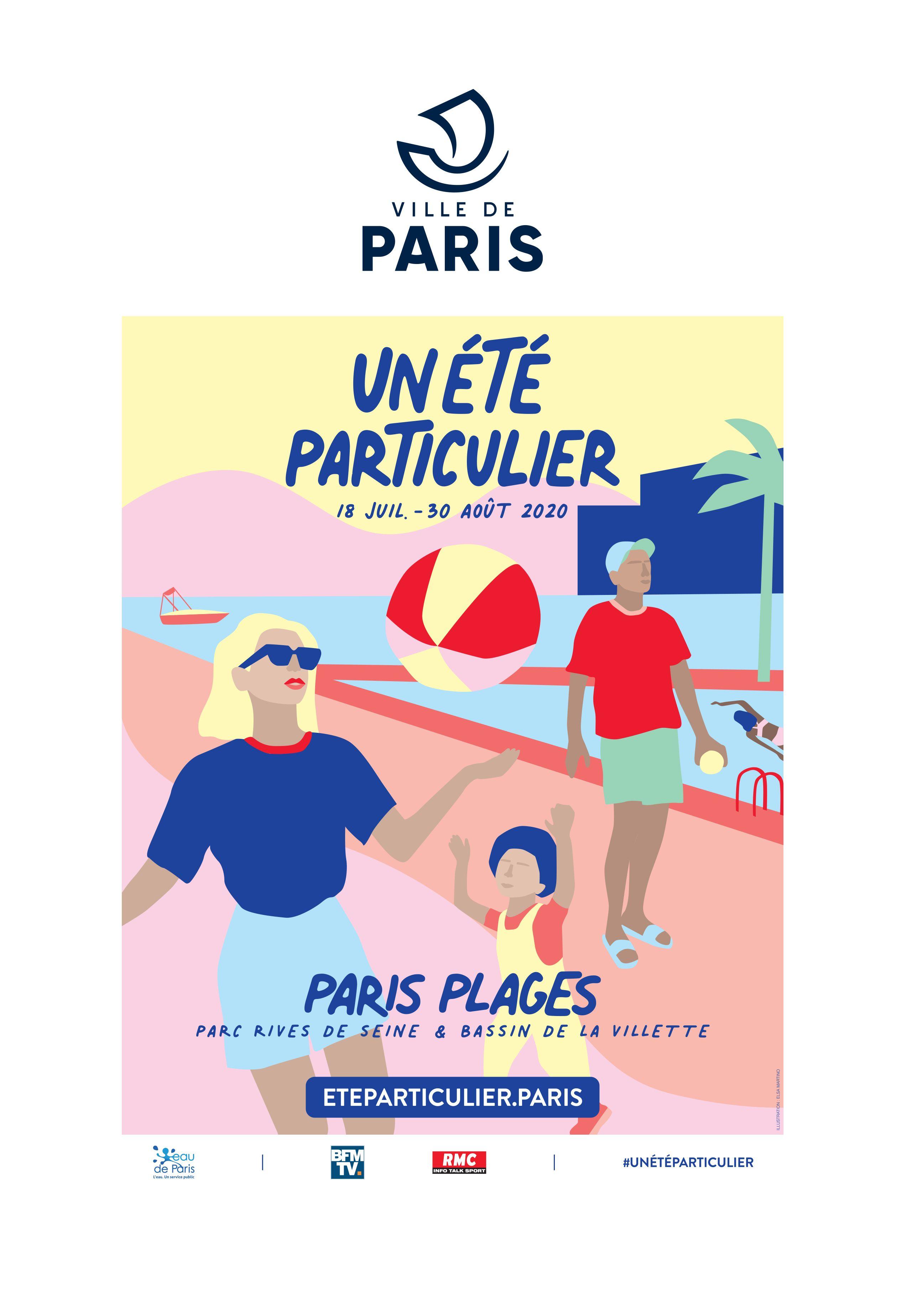 visuel_campagne_communication_affiches_ville_de_paris_plages_lance_un_ete_particulier_programme_estival_2020_animation_pour_parisiens_parisiennes_sport_matin_midi_lafourmi